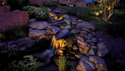 Permanent low voltage landscape lighting and site furniture