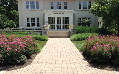 Paver and Hardscape Installation with Landscaping for commercial entrance